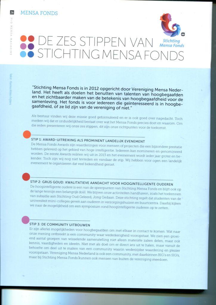 2016dec00 Mensa HiQ Karina artkel Mensa Fonds01