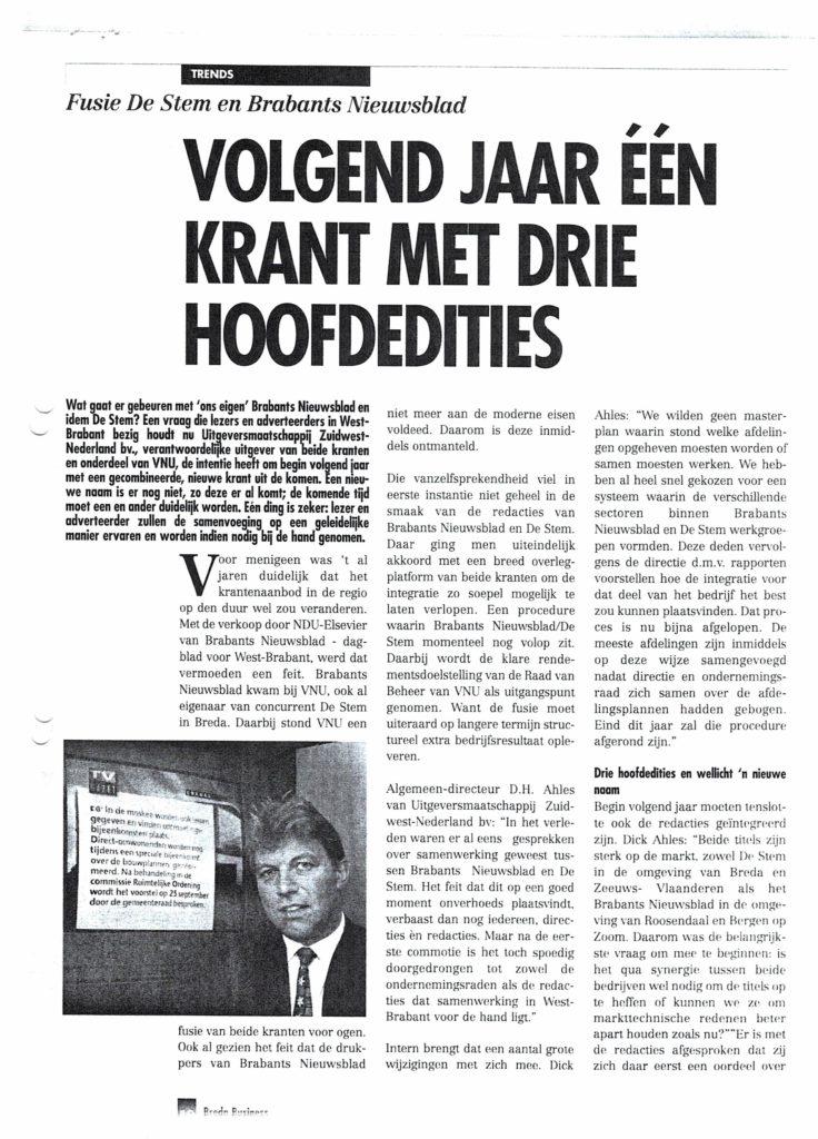 1997 Breda Business Vologend jaar een krant mjet drie hoofdedities18032017