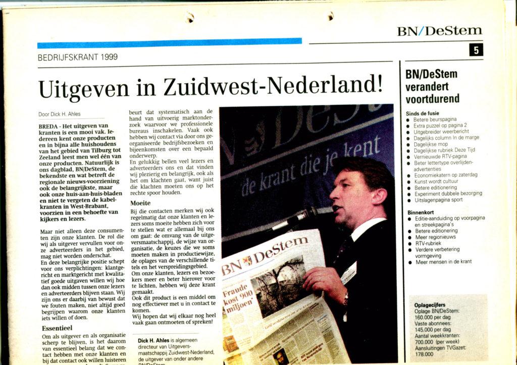 1999sep00 BNDeStem Bedrijfskrant Uitgeven in Zuidwest-Nederland
