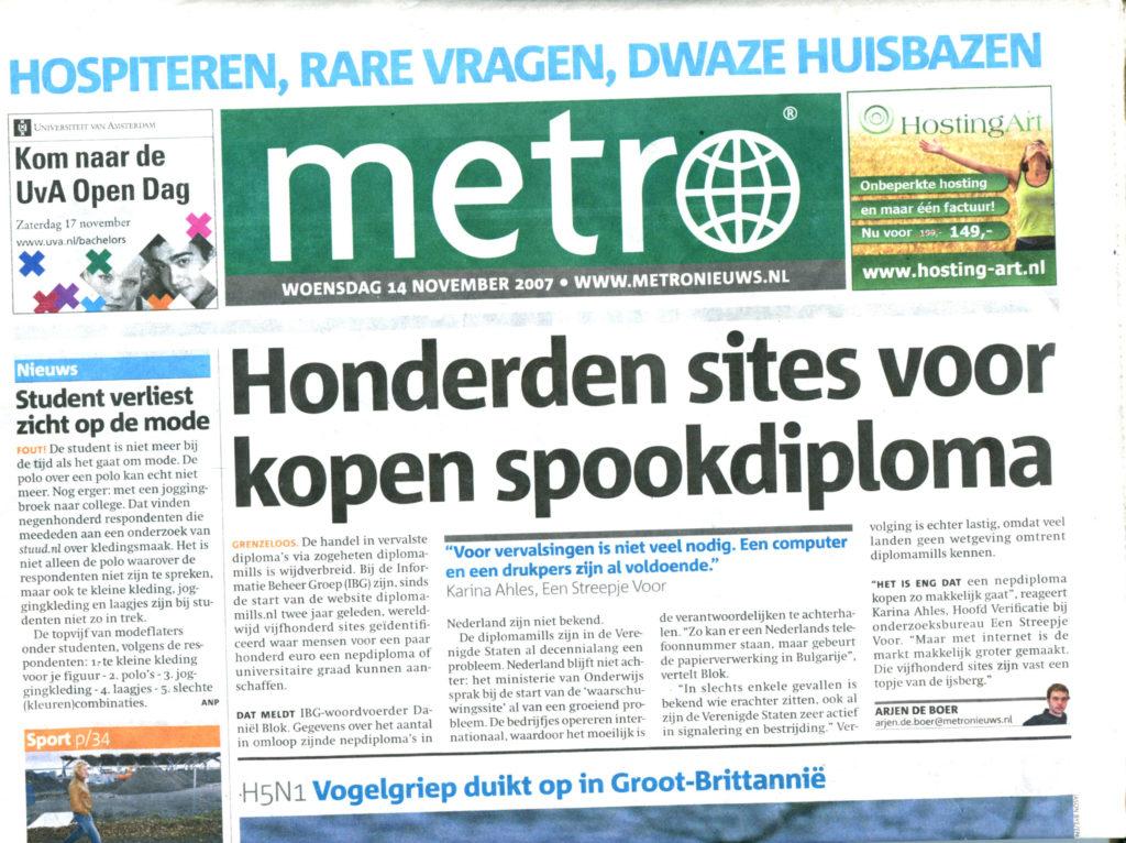 2007nov14 Metro Honderden sites voor kopen spookdiplomas